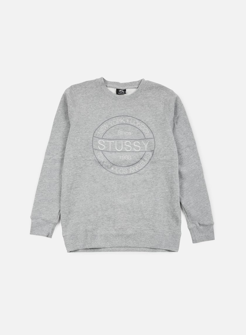 Stussy - Round Stamp Crewneck, Grey Heather