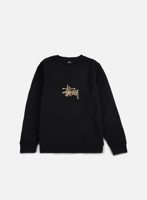 felpe stussy shadow stock applique crewneck black