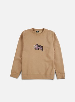 Stussy - Shadow Stock Applique Crewneck, Light Brown
