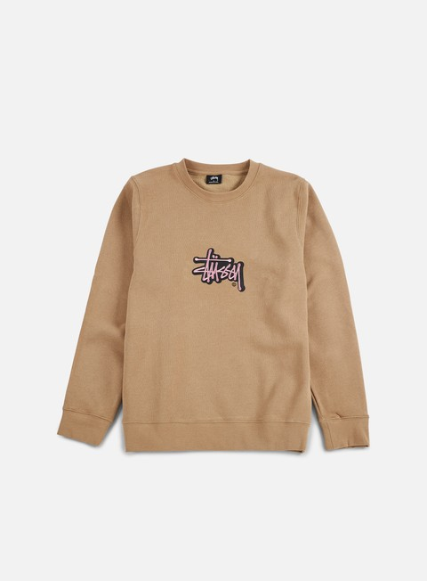 felpe stussy shadow stock applique crewneck light brown
