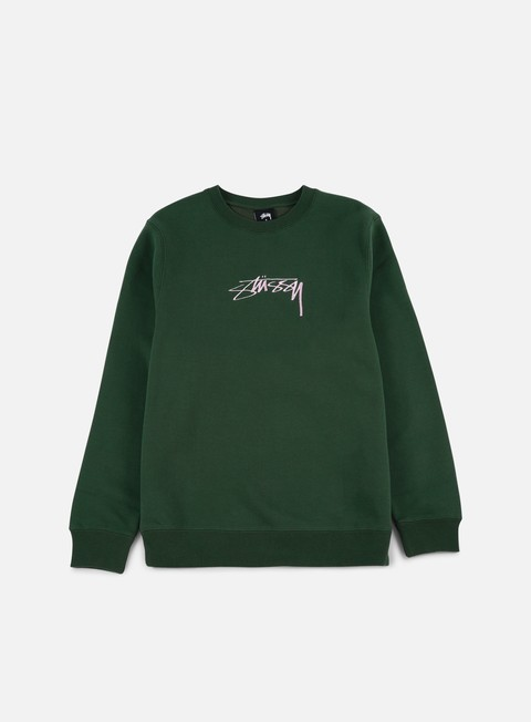 felpe stussy smooth stock applique crewneck dark forest