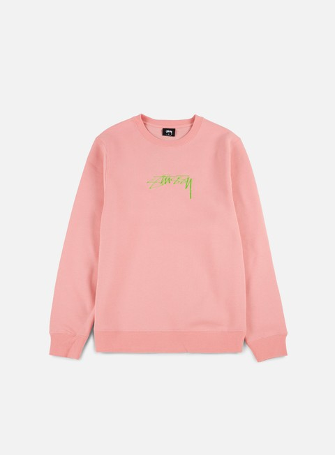 felpe stussy smooth stock applique crewneck dusty rose