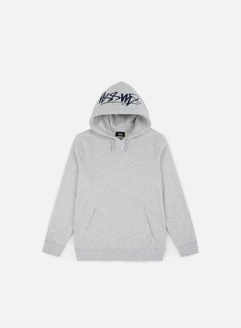 felpe stussy smooth stock applique hoodie grey heather
