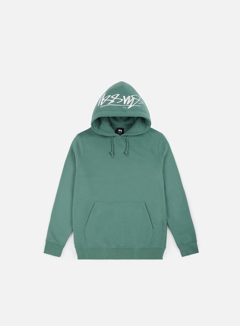 felpe stussy smooth stock applique hoodie sage