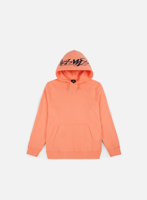 felpe stussy smooth stock applique hoodie salmon