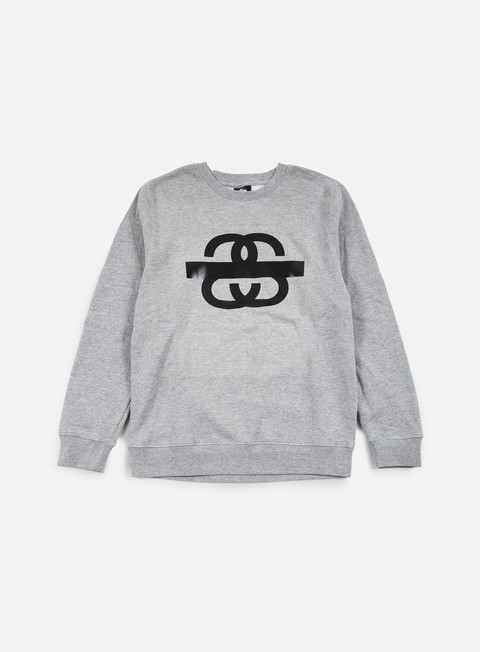 felpe stussy ss taped crewneck grey heather