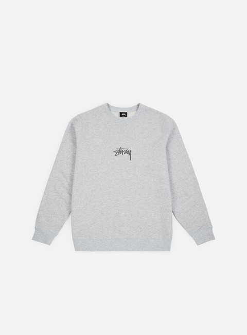 felpe stussy stock applique crewneck grey heather