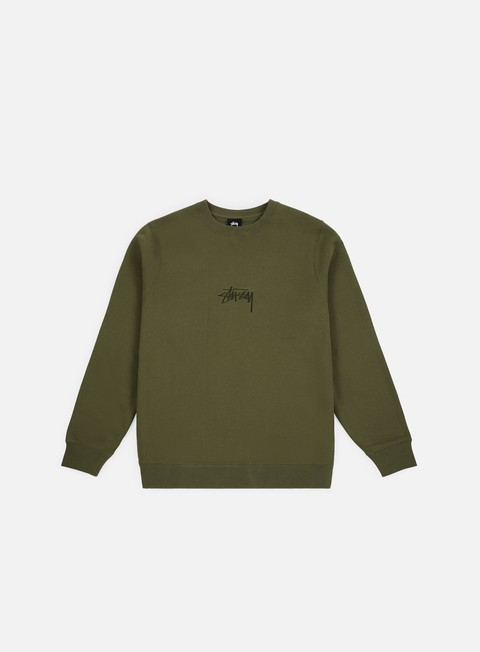 felpe stussy stock applique crewneck olive