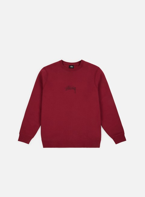 felpe stussy stock applique crewneck wine