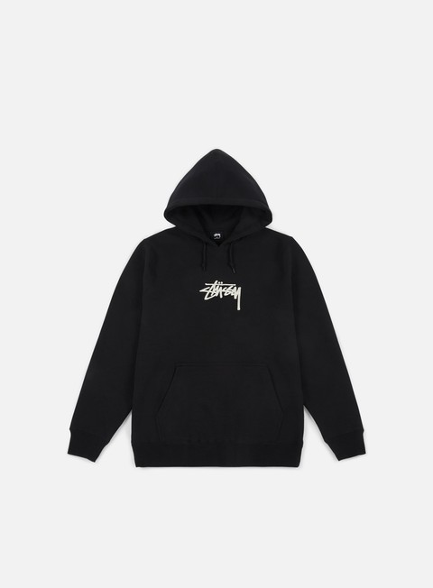 felpe stussy stock applique hoodie black