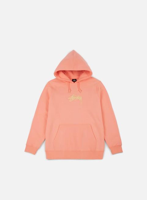 felpe stussy stock applique hoodie salmon