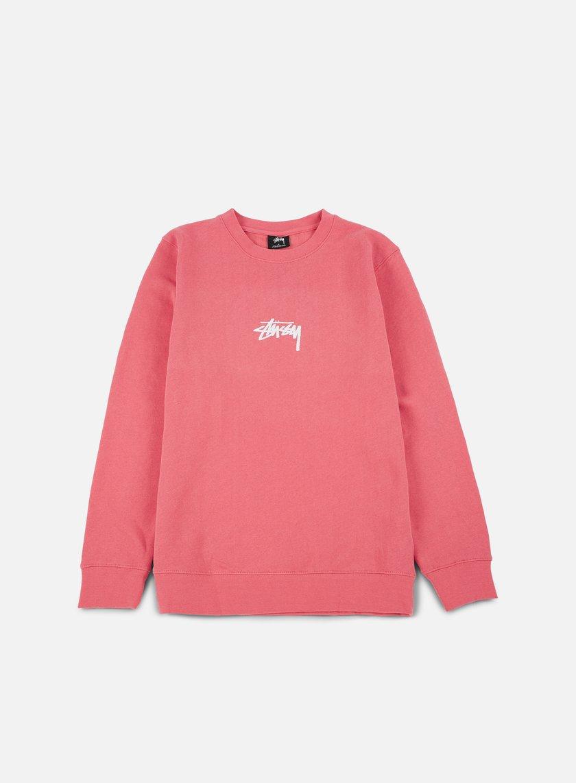 Stussy - Stock Crewneck, Dark Pink/White