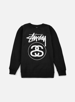 Stussy - Stock Link Crewneck, Black/White 1