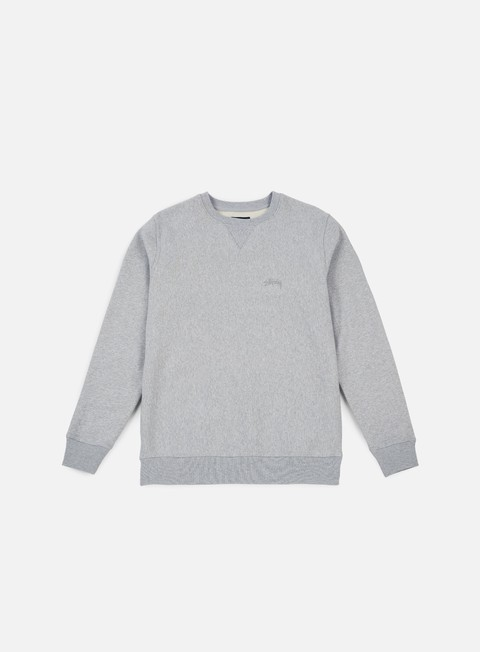 felpe stussy stock logo crewneck grey heather