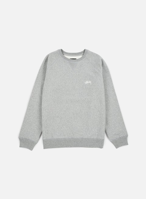 felpe stussy stock raglan crewneck grey heather