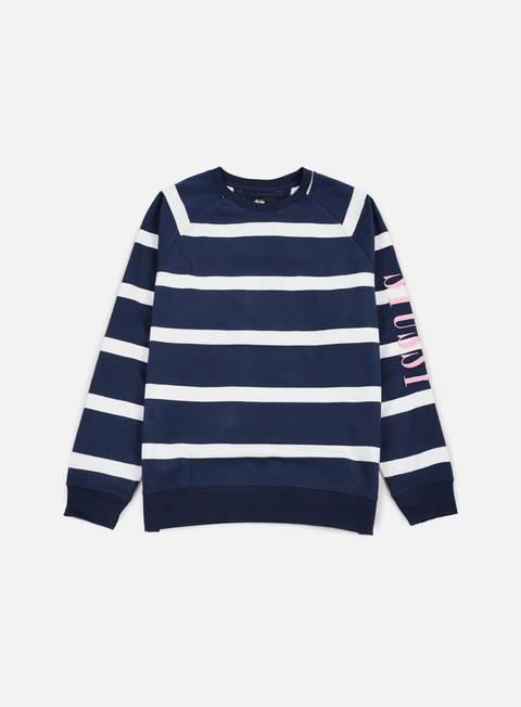 felpe stussy striped raglan crewneck navy