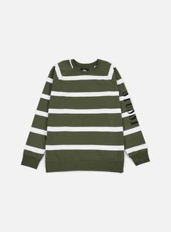 Stussy - Striped Raglan Crewneck, Olive