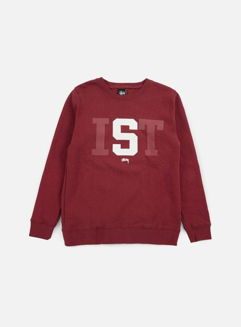 felpe stussy stussy ist big crewneck dark red