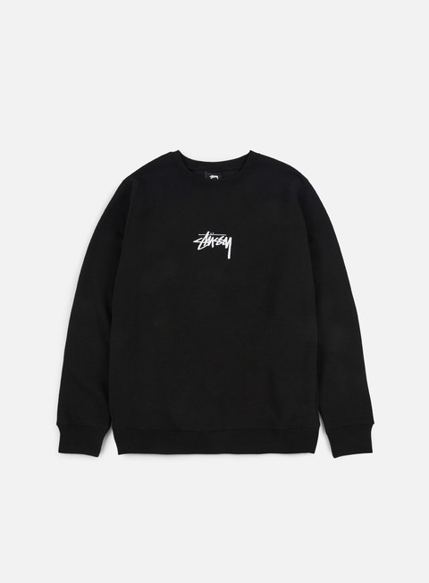 felpe stussy stussy stock applique crewneck black