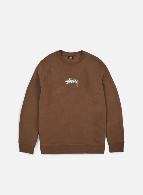felpe stussy stussy stock applique crewneck chocolate
