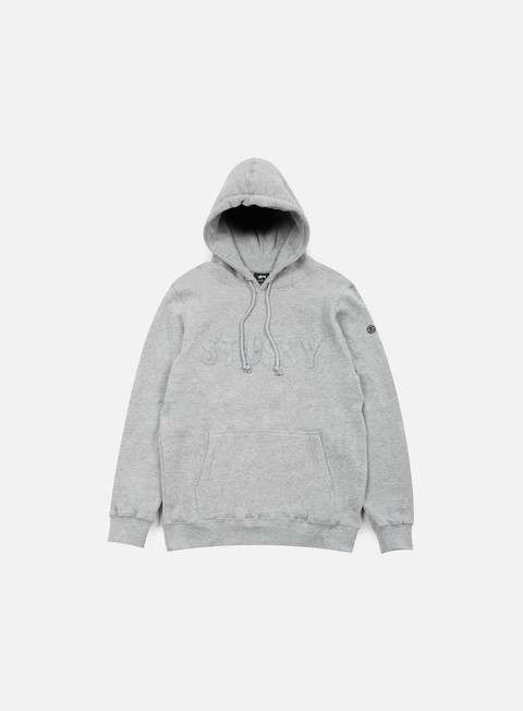 felpe stussy tonal felt hoodie grey heather