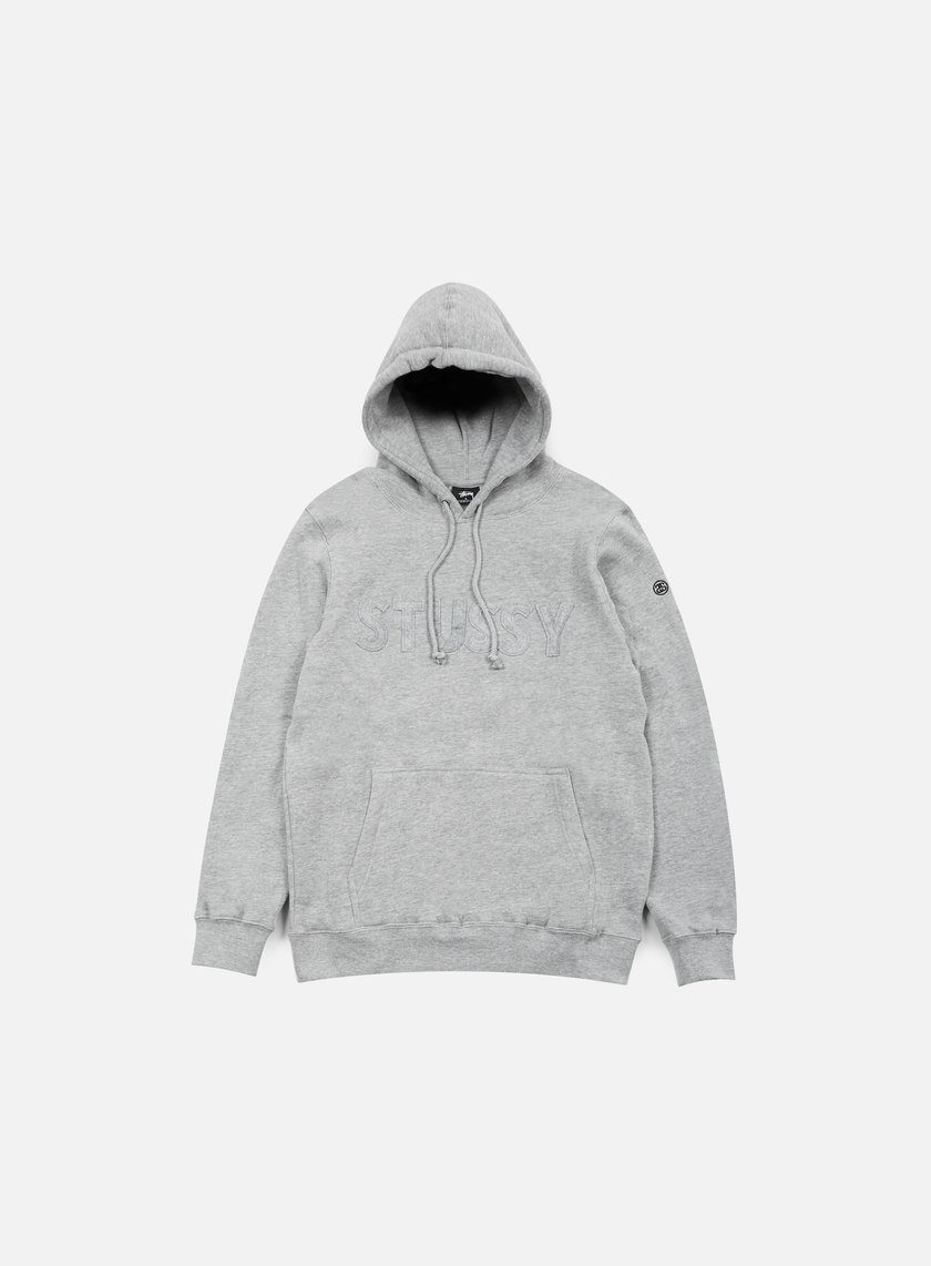 Stussy - Tonal Felt Hoodie, Grey Heather