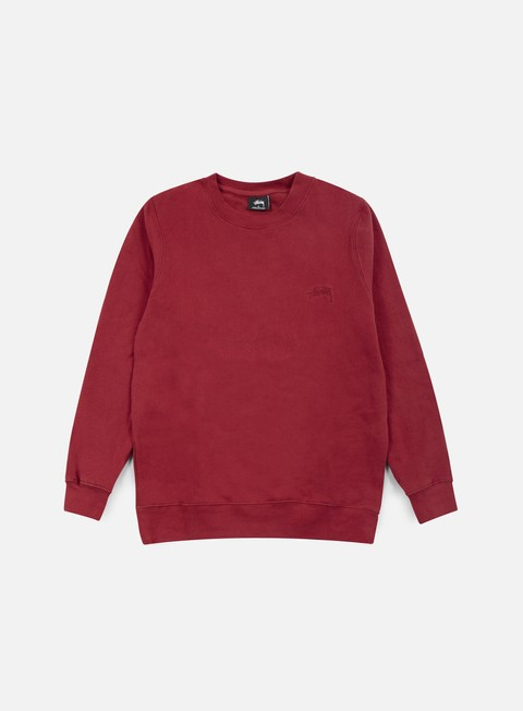 felpe stussy tonal stock crewneck dark red