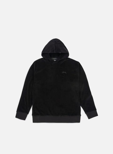 felpe stussy velour hoodie black