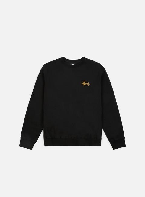 felpe stussy wmns basic logo crewneck black gold