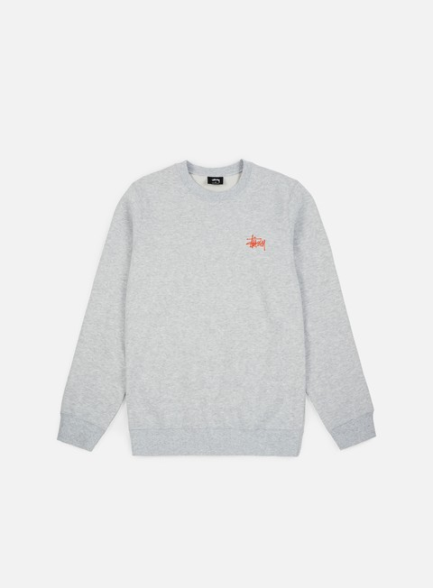 felpe stussy wmns basic stussy crewneck grey heather orange