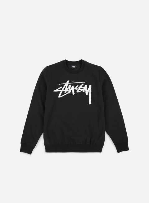 felpe stussy wmns old stock crewneck black