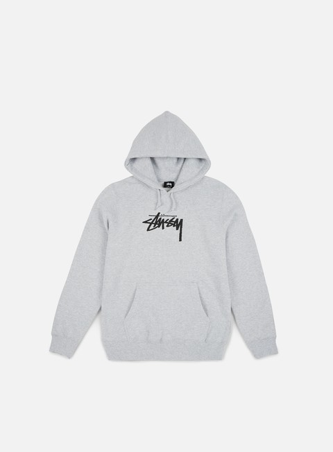 felpe stussy wmns old stock hoodie grey heather