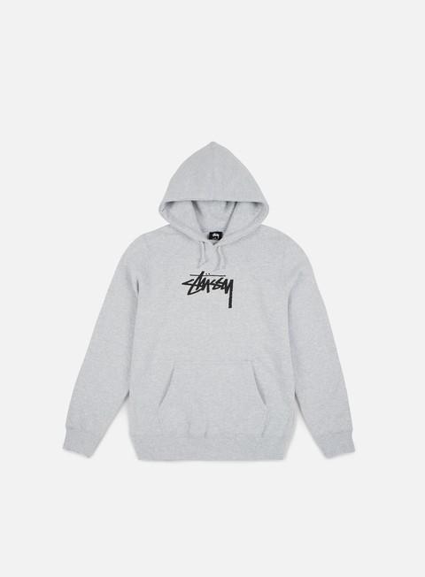 felpe stussy wmns old stock hoodie grey heather
