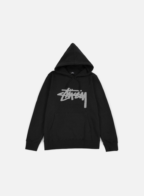 felpe stussy wool stock applique hoodie black