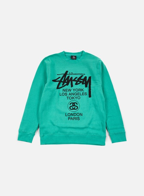 felpe stussy world tour crewneck green