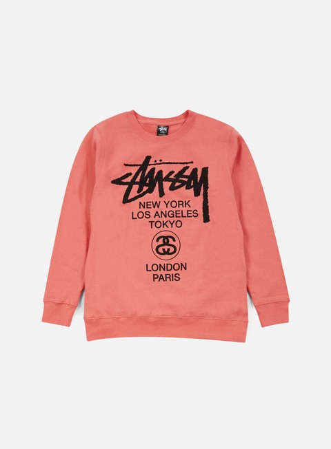 felpe stussy world tour crewneck pink