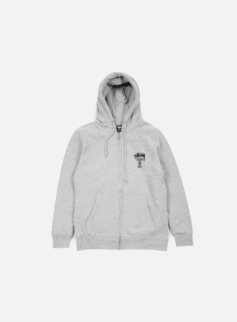 felpe stussy world tour zip hoodie grey heather