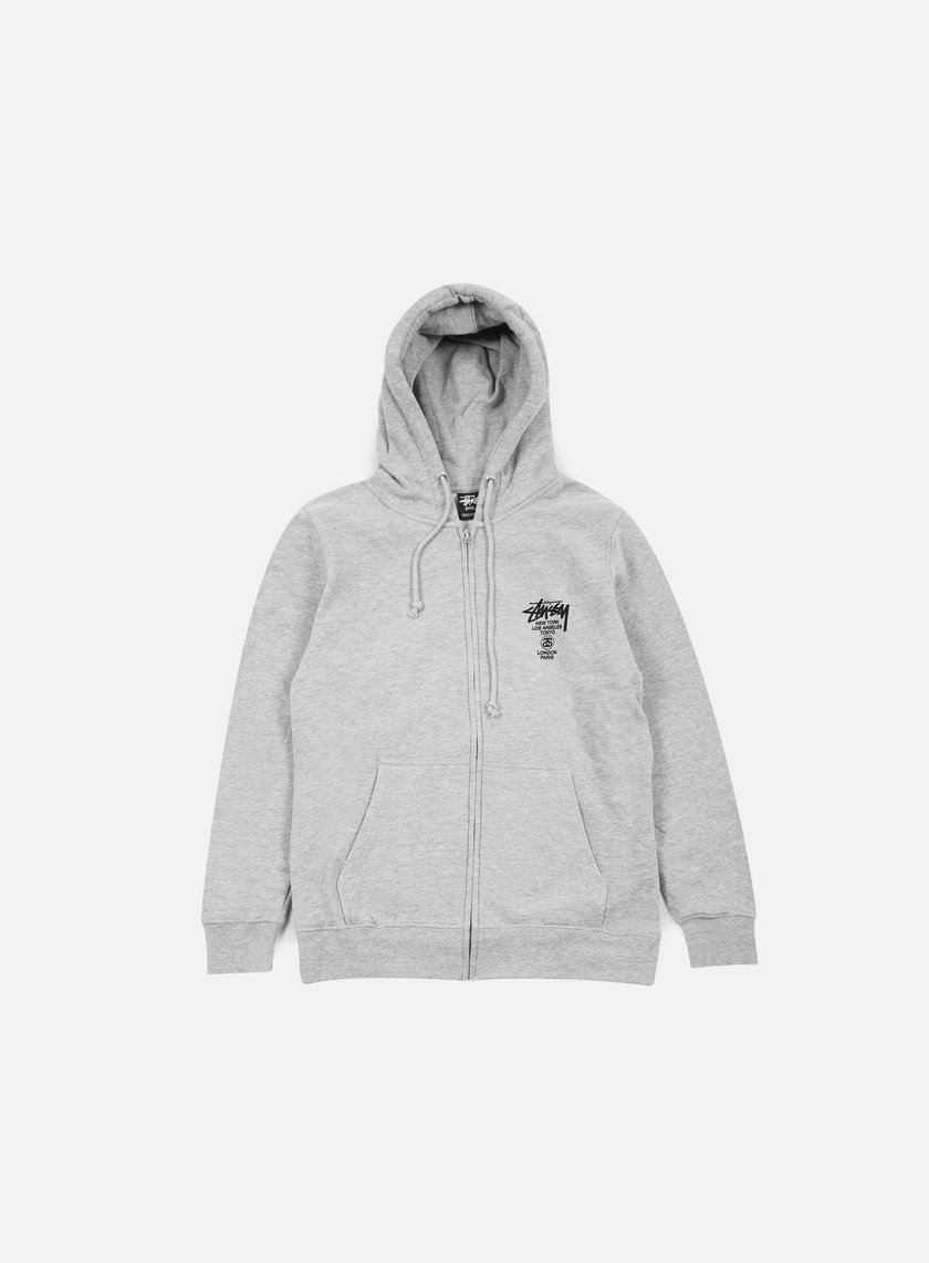 Stussy - World Tour Zip Hoodie, Grey Heather