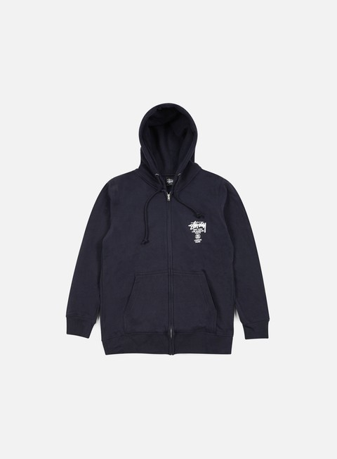 felpe stussy world tour zip hoodie navy