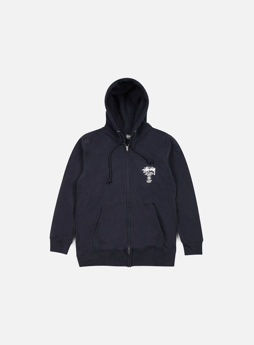 Stussy - World Tour Zip Hoodie, Navy