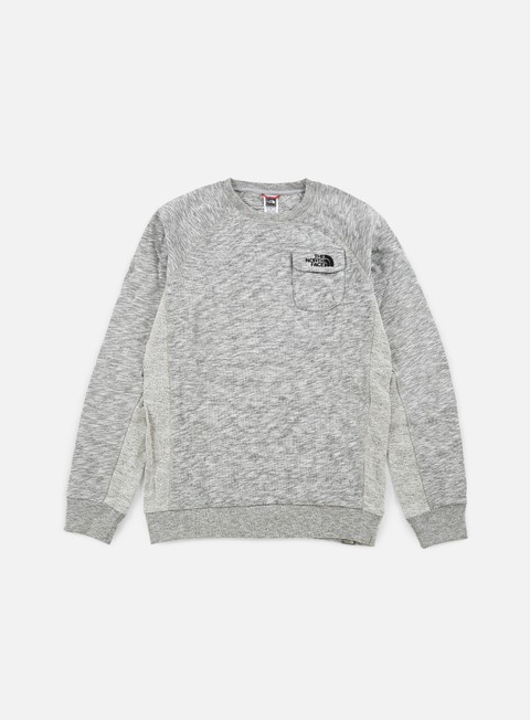 felpe the north face pocket crewneck tnf medium grey heather