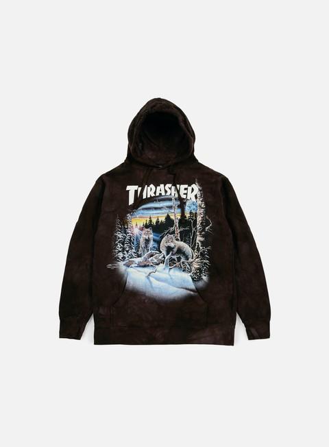 felpe thrasher 13 wolves hoodie black tie dye