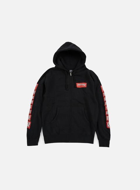 felpe thrasher boxed logo zip hoodie black