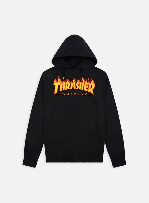 felpe thrasher flame logo hoodie black