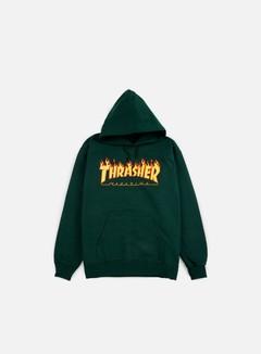 Thrasher - Flame Logo Hoodie, Forest Green