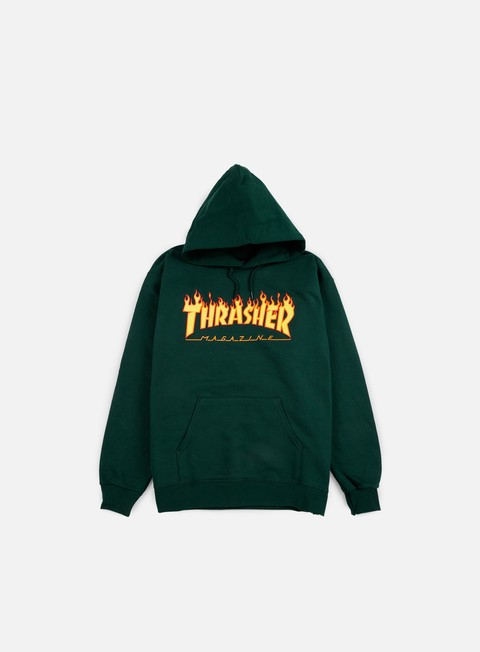 felpe thrasher flame logo hoodie forest green