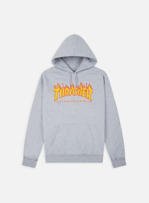 felpe thrasher flame logo hoodie grey