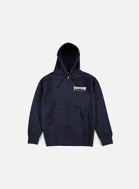 felpe thrasher logo zip hoodie navy