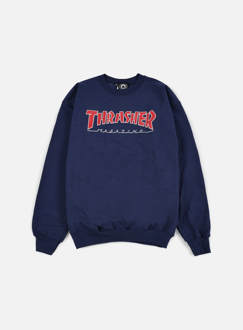 Thrasher - Outlined Crewneck, Navy