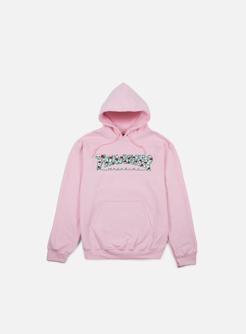 felpe thrasher roses hoodie light pink